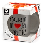 This frosted glass mug features says I Love My Grandma In Polish (Kocham Moja Babcie). Hand wash only. Made In Poland. 250ml/8.4oz capacity.