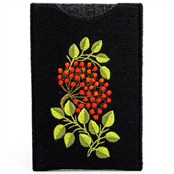 Soft black felt sewn case with hand embroidered Lowicz folk flowers on one side. Beautiful and functional. Designed to fit large IPhones. 