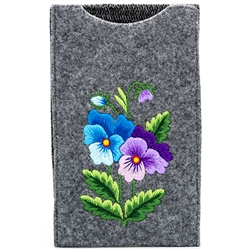 Soft grey felt sewn case with hand embroidered Lowicz folk flowers on one side. Beautiful and functional. Floral Designs Vary