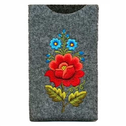 Soft grey felt sewn case with hand embroidered Lowicz folk flowers on one side. Beautiful and functional.