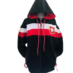 This unisex hooded jacket is part of our new collection from Poland for all of our Polish fans. This very attractive jacket features the Polish Eagle emblem on the front. 100% cotton. Polish sizes run small so we recommend ordering one size larger than