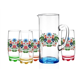 "Colorful set of glasses and pitcher.  Glasses are approx 6"" tall and pitcher is approx 10"" tall.