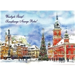 A beautiful glossy Christmas card featuring Castle Square In Warsaw. Blank inside.