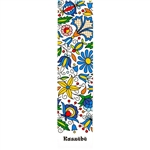 This is a beautiful Kashub floral pattern printed on a bookmark with a white background. Back of the bookmark includes a map of Poland and an explanation in English and Polish about this pattern.