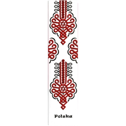This is a Podhale mountain region pattern printed on a bookmark with a white background. Back of the bookmark includes a map of Poland and an explanation in English and Polish about this pattern.