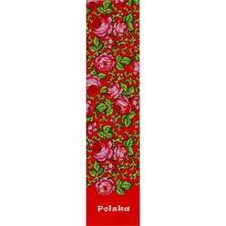 This is a Podhale highland region pattern printed on a bookmark with a red background. Back of the bookmark includes a map of Poland and an explanation in English and Polish about this pattern.