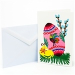 "This beautiful note card is entirely hand made in Lowicz, Poland. The paper cut is glued to the card. Suitable for framing.  Mailing envelope included. No text inside.  Size is approx 4"" x 6"".​"