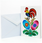 "This beautiful note card is entirely hand made in Lowicz, Poland. The paper cut is glued to the card. Suitable for framing. Mailing envelope included. No text inside. Hand made so colors and designs vary. Size is approx 4"" x 6"". Note: Design varies"