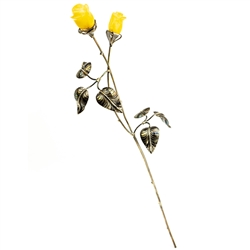 "Beautiful hand made silver rose with two hand carved amber flowers. Perfect gift for her. Roses of this type have a special significance in Poland today, since John Paul II donated a ""Golden Rose"" to Our Lady of Czestochowa in 1979."