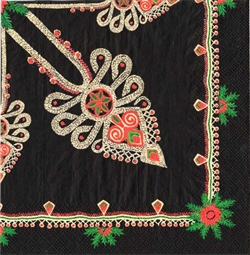 The traditional Polish mountaineer pattern on a black background. Three ply napkins with water based paints used in the printing process