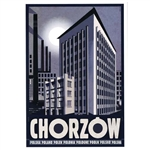 "Chorzow, Polish Tourist Poster designed by artist Ryszard Kaja in 2018. It has now been turned into a post card size 4.75"" x 6.75"" - 12cm x 17cm. 