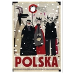 "Post Card: Polska-Kolednicy, Polish Tourist Poster, Polish Tourist Poster designed by artist Ryszard Kaja. It has now been turned into a post card size 4.75"" x 6.75"" - 12cm x 17cm."
