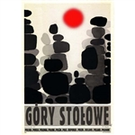 "Post Card: Gory Stolowe , Polish Tourist Poster designed by artist Ryszard Kaja in 2018. It has now been turned into a post card size 4.75"" x 6.75"" - 12cm x 17cm."