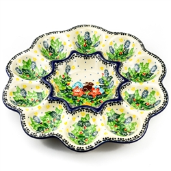 "Holds 10 eggs not including the center.  Pattern designed by master artist Wirginia Cebrowska. The artist has been connected with the Artistic Handicraft Cooperative ""Artistic Ceramics and Pottery"" since 2001. Since 2010 she has been a pattern designer. U"