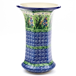 "Large elegant vase with a Unikat pattern designed by master artist. Krystyna Dacyszyn. The artist has been connected with the Artistic Handicraft Cooperative ""Artistic Ceramics and Pottery"" since 1990. A pattern designer since 2002. Signature Series Patte"