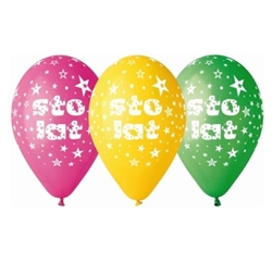 "Sto Lat Party Balloons Set of 5.  Size approx 12""."