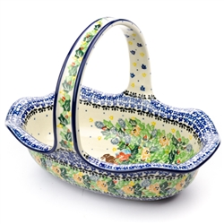 "Beautiful Easter pattern basket. Size is approx 8"" H x 11"" L x 7.5"" W.