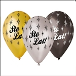 "Sto Lat Party Balloons Set of 6. 3 assorted colors. Size approx 13"". Helium quality.  Not for children under 3 years old."