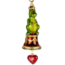 "Exquisitely detailed glass ornament from the studios of Edward Bar in Krakow. Hand blown and decorated with Swarovski crystals. Size is approx 8"" x 3""."