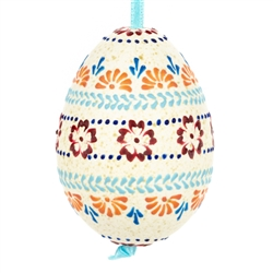 These beautifully designed and executed naturally speckled turkey eggs are hand made by our Polish folk artist from Torun, Poland. The technique used is called wax embossing which is similar to the batik method of decorating pisanki using several layers