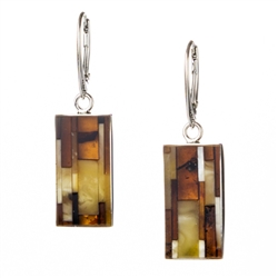 "Beautiful set of dangle earrings, consisting of a mosaic of amber stones set in silver with a European clasp. Approx 1.5"" x .5"".