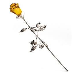 "Beautiful hand made silver rose with a Baltic amber flower. Perfect gift for her. Roses of this type have a special significance in Poland today, since John Paul II donated a ""Golden Rose"" to Our Lady of Czestochowa in 1979.  Size is approx 8"" x 2"
