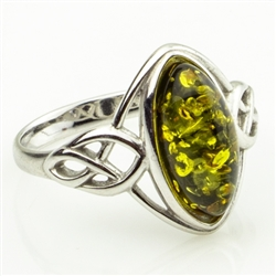 "Oval Green Amber ""Celtic Knot"" Sterling Silver Ring"