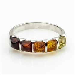Multi Stone Amber Sterling Silver Ring