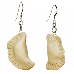 These little polymer clay earrings are pierogi shaped and dish up a little fashion for you dumpling lovers! 
