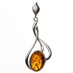 "Artistic Sterling Silver Pendant With A Honey Amber Drop.  Size is approx 1.75"" x .75""."