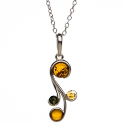 Three shades of Baltic amber set in a sterling silver floral design.