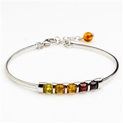 "This sterling silver bracelet features an array of amber from light to dark.  This is a 7"" bracelet with a 1"" extender."