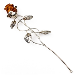 "Beautiful hand made silver rose with a Baltic amber flower. Perfect gift for her. Roses of this type have a special significance in Poland today, since John Paul II donated a ""Golden Rose"" to Our Lady of Czestochowa in 1979. Size is approx 7.5"" x 2"""