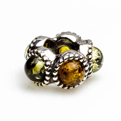 Now you can add a genuine piece of amber to your favorite bracelet. Natural amber framed in artistic sterling silver designed to fit all of the popular bracelet chains. Create an entire bracelet of amber beads or select one or two to highlight your curren
