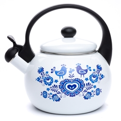 This beautiful kettle is made of high quality enamel steel which is solid and durable. The product has a Soft Touch handle, and a safe whistle, designed for all types of cookers.