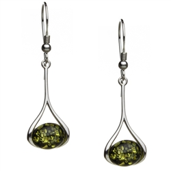 "Green amber drops suspended in silver frames.  Size is approx 1.25"" x .5"". Stylish and unique."
