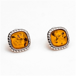 "Gorgeous Baltic Amber square stud earrings surrounded with a ring of Sterling Silver roping detail.  Size is approx .5"" square."