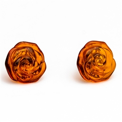 Gorgeous Baltic Amber carved roses stud earrings.
