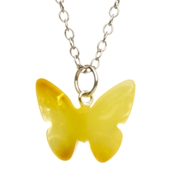 "Butterfly Amber necklace comes with a 16"" sterling silver chain with a 2"" extender."