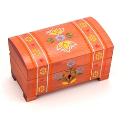 This box is decorated with carved and painted folk designs and flowers on the top, front and back sides.   This beautiful box is made of seasoned Linden wood, from the Tatra Mountain region of Poland.
