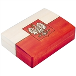 This box is decorated to resemble the Polish Flag with the Eagle.This beautiful box is made of seasoned Linden wood, from the Tatra Mountain region of Poland.