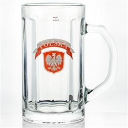 This is a 1/2 liter capacity tall glass stein. The glass is made in Krosno, Poland.