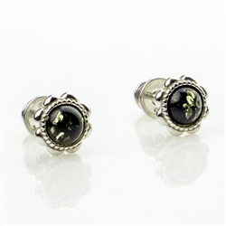 Gorgeous Baltic Amber stud earrings surrounded with a ring of sterling silver.