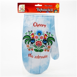 Colorful oven mitt featuring Lowicz roosters. Na Zdrowie is the Polish toast meaning To Your Health! Mitt has a magnet in the cuff for hanging.