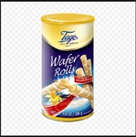 Crispy and delicious wafer cookie filled with vanilla cream. They are a prefect match plain with ice cream or as a snack with coffee or tea. Packaged in a sturdy cardboard tube.