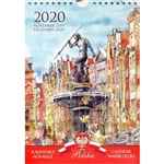 This beautiful small format spiral bound 14 month wall calendar features the works of Polish artist Katarzyna Tomala. 15 scenes from Polish cities in watercolours.
