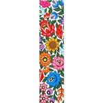 "This is a beautiful Zalipie style wycinanka printed on a tab-style bookmark featuring multi-colored folk flowers with a white background.   Size is approx 8.25"" x 2"""