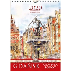 This beautiful small format spiral bound 14 month wall calendar features the works of Polish artist Katarzyna Tomala. 15 scenes from Gdansk-Gdynia-Sopot in watercolours.