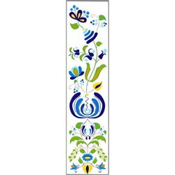This is a beautiful Kashub floral pattern printed on a bookmark with a white background.