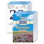 "This is a traditional Polish tear off calendar. 736 pages size 3"" x 4.25"".  Each day list the names of the saints for that day, the time of sunrise and sunset, the day of the year and famous quotes.  On the reserve side are either recipes or interesting"